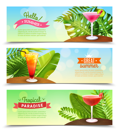 rum: Tropical paradise summer vacation 3 horizontal bright sunny banners set with rum punch cocktails isolated vector illustration Illustration
