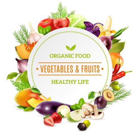 Fundo de alimentos orgânicos naturais com quadro brilhante colorido contido conjunto de frutas e legumes frescos, retratado na ilustração em vetor estilo realista Ilustración de vector