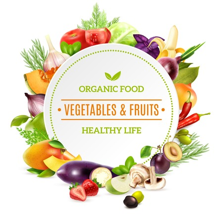 contained: Natural organic food background with colorful bright frame contained fresh vegetables and fruits set pictured in realistic style vector illustration