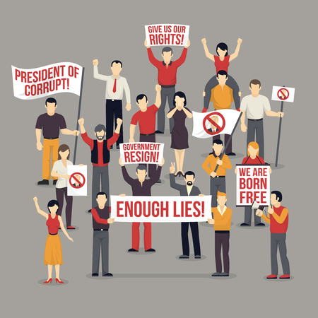 men and women: Crowd protesting people composition with expressive demanding men women with flags placards on grey background vector illustration