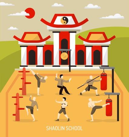 tempio cinese marziali composizione arti con allenamento di combattenti a scuola abilità di combattimento a illustrazione vettoriale all'aperto