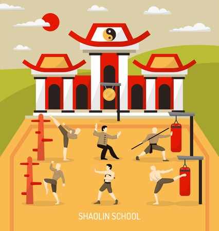 Chinese temple martial arts composition with workout of fighters at combat skill school at outdoor  vector illustration
