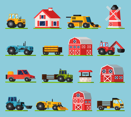 orthogonal: Farm orthogonal flat icons set with various kinds of transport mill house barns of different sizes and well on green grass isolated vector illustration Illustration
