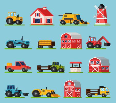 labranza: iconos planos ortogonales establecidos Granja con diversos tipos de molinos de transporte de las casas graneros de diferentes tama�os y tambi�n en la ilustraci�n del vector de la hierba verde aislado Vectores