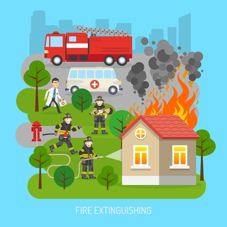 building fire: Firefighters rescuing child in fire extinction action scene with fire truck and ambulance flat abstract poster vector illustration