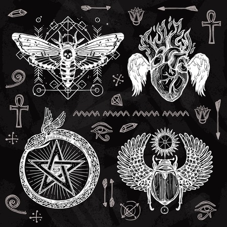 burning heart: Chalkboard tattoo set butterfly burning heart snake circled with star and scarab with wings isolated vector illustration