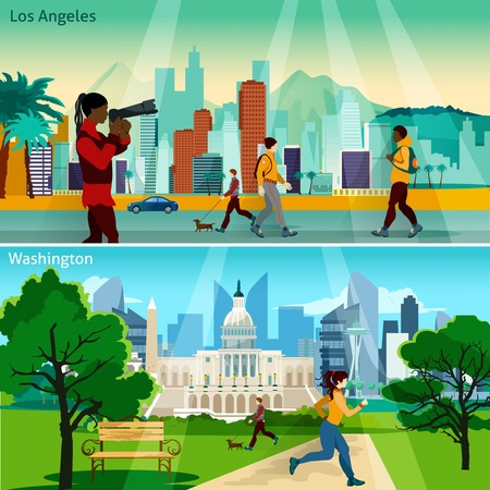 American Cityscapes Flat Concept. USA Sights With People Compositions Set. US Cities Vector Illustration. America And Cities Isolated Set.