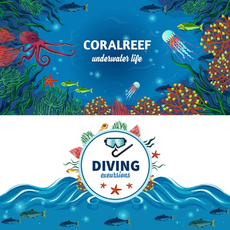 reefs: Sea life horizontal banners with colorful image of coral reefs exotic underwater animals and diving advertising flat vector illustration