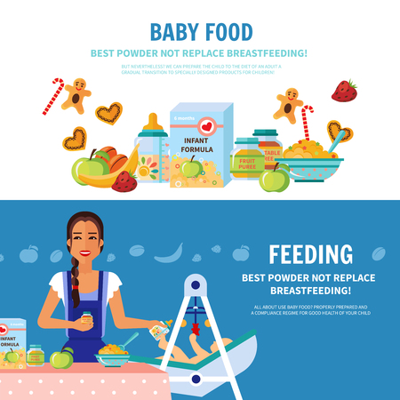solids: Best milk formula choice and breastfeeding importance 2 flat banners baby food introduction for parents vector illustration