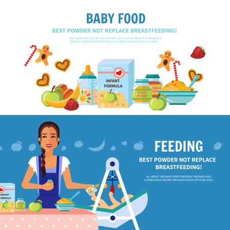 Le meilleur choix de formule de lait et l'allaitement importance 2 bannières plates bébé l'introduction des aliments pour les parents illustration vectorielle