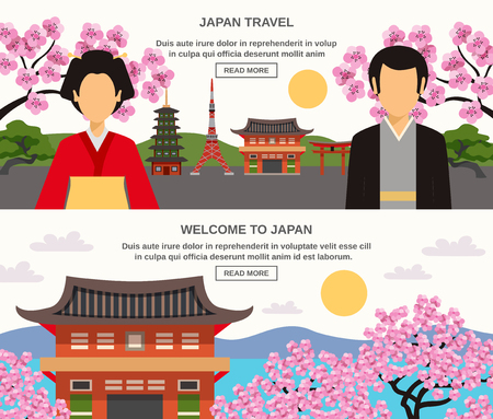 information  isolated: Japanese traditions food and lifestyle information for travelers 3 flat horizontal banners set abstract isolated vector illustration