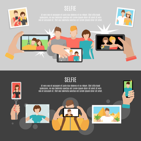 special moments: Selfie  pics taking with friends and family 2 horizontal flat banners set poster abstract isolated vector illustration