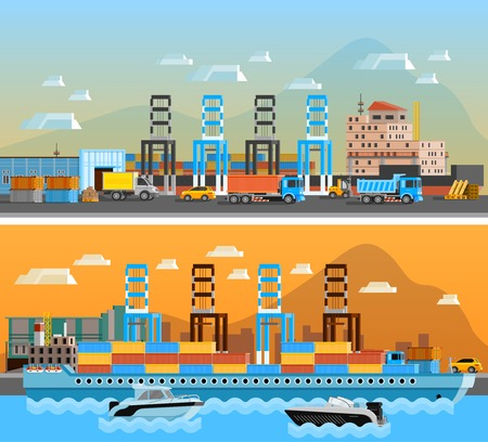 Two freight port horizontal banners with dry cargo ship at shipyard and port of loading and unloading with trucks flat vector illustration