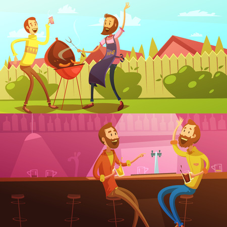 grilling: Friends having rest horizontal  banners set with barbecue and bar cartoon isolated vector illustration