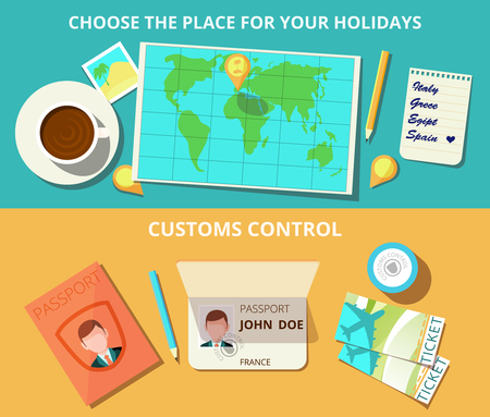 customs: Airport horizontal banner set with world map and customs control elements isolated vector illustration