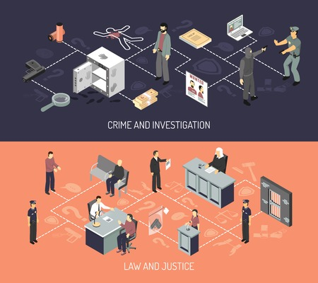 arrest: Judicial system isometric horizontal banners with crime arrest evidences investigation interrogation court hearing isolated vector illustration