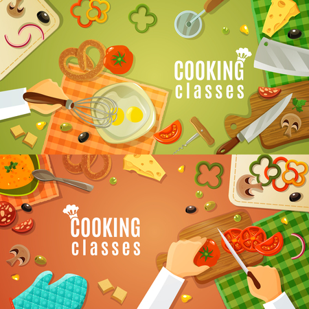 Cooking classes top view with kitchenware and products on kitchen table and chefs hands chopping vegetables on wooden board vector illustration