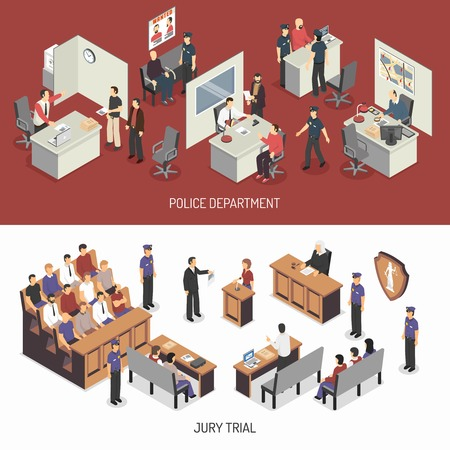 Law system isometric horizontal banners with police office interrogation jury trial lawyer defendant witness isolated vector illustration
