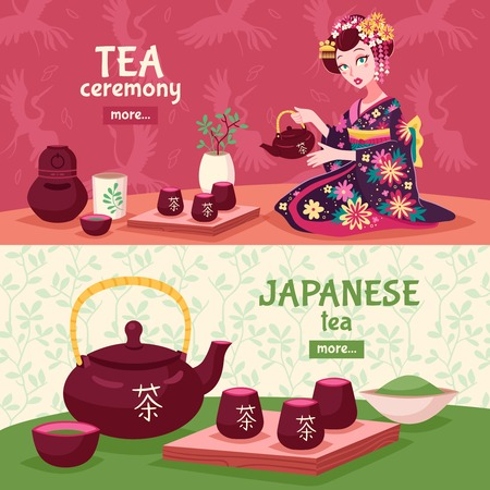 tea ceremony: Two horizontal tea ceremony banner set with a woman who pours tea and Japanese tea tradition vector illustration