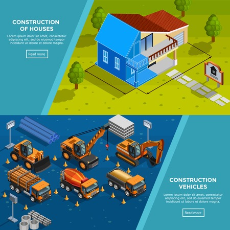 Two construction isometric banners with layout of country house vehicles for road works trucks and tippers flat vector illustration Illustration