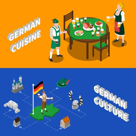 german culture: German culture for tourists 2 isometric banners with traditional national cuisine dishes and sightseeing abstract vector illustration