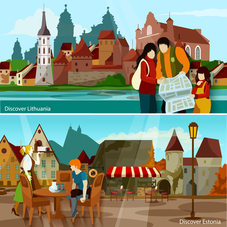 europe cities: European Cityscapes Flat Concept. Europe And Sights Horizontal Compositions. European Cities Vector Illustration. European Countries Isolated Set. Discover Lithuania And Estonia Design Symbols.