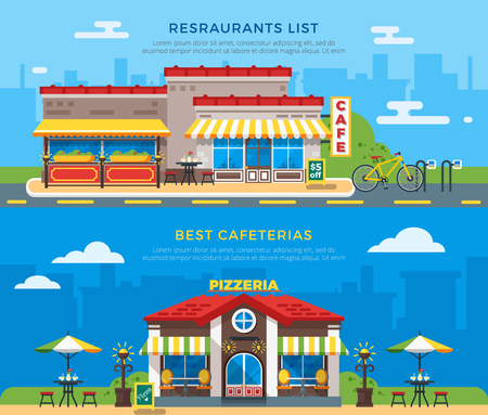 cook out: Best cafeterias and restaurants list banners with nice colorful cafe and pizzeria buildings on city background flat vector illustration
