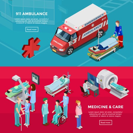 gurney: Two isometric hospital horizontal banners with medical staff diagnostic equipment ambulance car feldsher and gurney with patient flat vector illustration Illustration