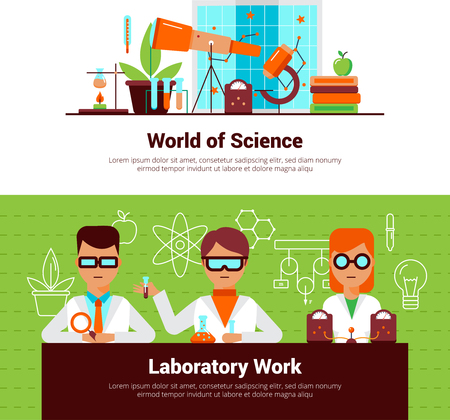 fire wire: Science and laboratory work banners with people and equipment vector illustration