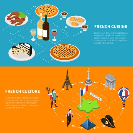 french culture: French culture top sughtseeing landmarks and national cuisine for tourists 2 isometric banners abstract isolated vector illustration