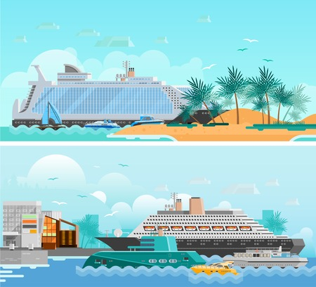 sailer: Cruise vacation flat horizontal banners set with passenger liners south beach modern hotels and sailboats vector illustration