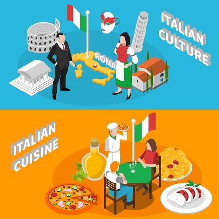 colloseum: Italian culture traditions landmarks an mediterranean cuisine for tourists 2 isometric banners poster abstract isolated vector illustration