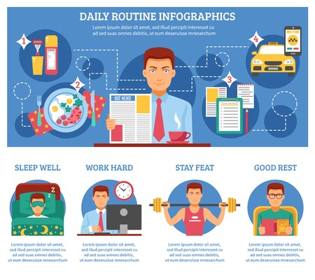 feat: Man daily routine infographics with descriptions of sleep wall work hard stay feat and good rest vector illustration