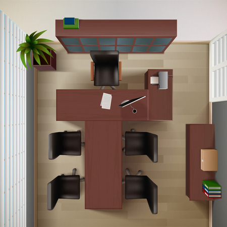 Office Interior Background. Office Vector Illustration. Workplace Interior Design. Office Realistic Decorative Illustration. Office Top View Illustration. Illustration