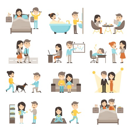 early in the evening: Icons people set of couple daily routine scenes from morning to evening cartoon isolated vector illustration