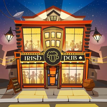 irish pub: Irish Pub Cartoon Background.  Irish Pub Building Vector Illustration.  Irish Pub Design. Irish Pub Decorative Illustration.