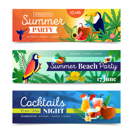 date night: Tropical cocktail summer beach night party date time announcement 3 colorful horizontal banners set abstract isolated vector illustration Illustration