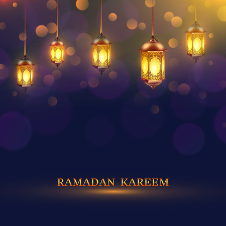 arabian background: Ramadan lights poster several glowing lamps hanging from the ceiling on a dark blue background and title Ramadan Kareem vector illustration Illustration