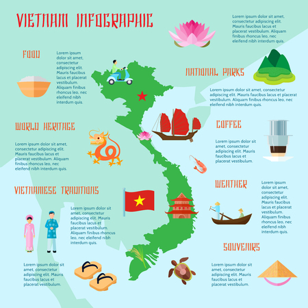Vietnamese food traditions national parks and cultural information for tourists flat infographic poster abstract vector illustration