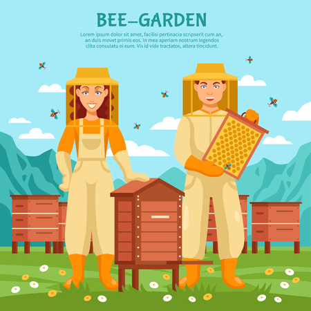 beekeeping: Honey beekeeping illustration poster people working at an apiary on background of fresh air and flying bees vector illustration