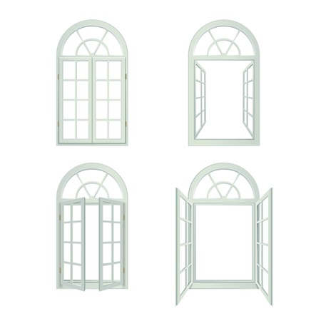 open window: Arched Windows Icons Set. Arched Windows Vector Illustration.Arched Windows Decorative Set.  Arched Windows Design Set. Arched Windows Realistic Isolated Set.