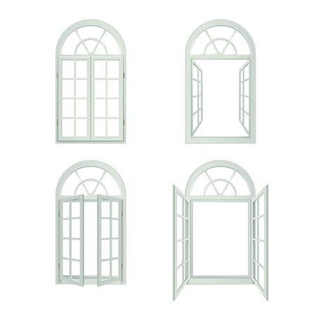 arched: Arched Windows Icons Set. Arched Windows Vector Illustration.Arched Windows Decorative Set.  Arched Windows Design Set. Arched Windows Realistic Isolated Set.