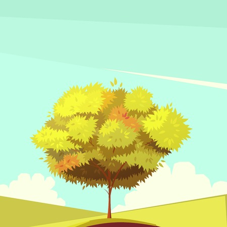 branchy: Autumn tree with root on field in sunny weather retro cartoon flat vector illustration