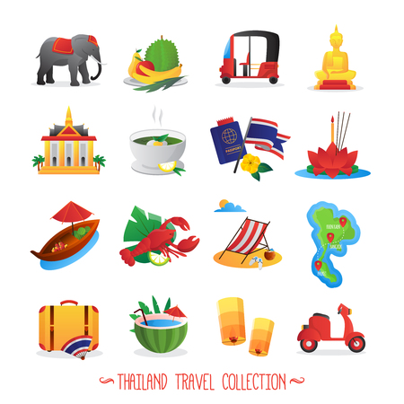 Thailand travel symbols flat icons collection with national food buddha figure and lotus abstract isolated vector illustration