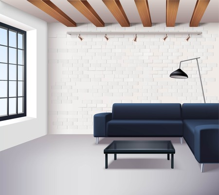 coffee table: Realistic loft interior concept in minimalistic style with sofa coffee table window lamps and light brick walls vector illustration Illustration