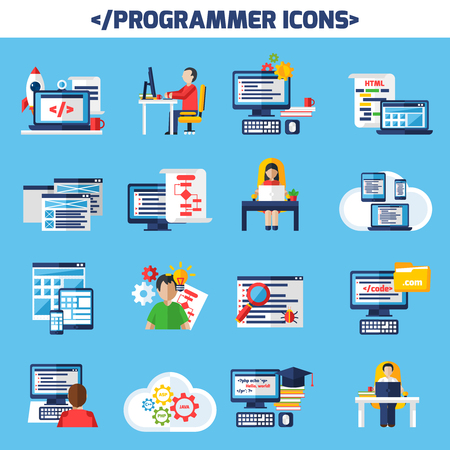 desktops: Programmer flat color decorative icons set of people sitting at desk with laptop and cup of coffee and images of page with algorithm and html code isolated vector illustration. Illustration