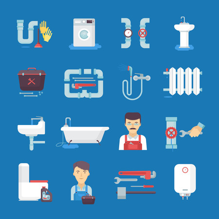toilet bowl: Plumber flat icons collection with toilet sink water heater on dark blue background abstract isolated vector illustration.