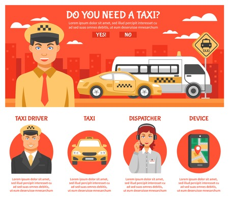 car driver: Taxi service infographics with title do you need taxi and a few buttons or links with different titles vector illustration