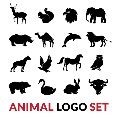 dolphin silhouette: Wild animals black silhouettes logo icons set with lion elephant swan squirrel and camel vector isolated illustration