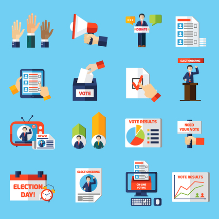 electioneering: Elections and voting flat icons set of rating diagram candidate list tv news and vote result graphs isolated vector illustration